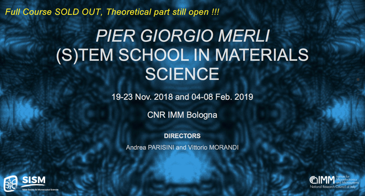 2018-2019 <i>Pier Giorgio Merli</i> (S)TEM SCHOOL IN MATERIALS SCIENCE <br>